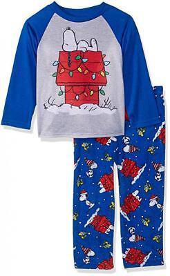 Peanuts Boys Holiday Snoopy 2pc Pajama Pant Set Size 2T 3T 4T 4 6 8 10 (Boys Holiday Pjs)