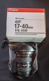 Canon EF 17-40mm f/4L USM Lens, Boxed with Lens Case and Lens Hood. Pristine
