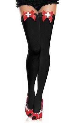 Naughty Nurse Thigh Highs. New in box. Black with red. One Size. COSTUME Leg Ave ()