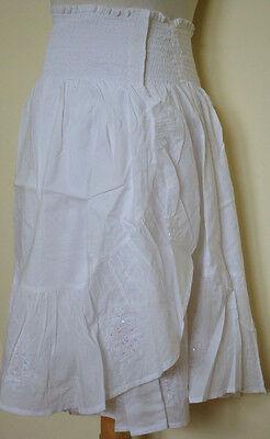 Cotton Wrap Around Skirts - New_Boho Wrap Around Embroidered Sequined Cotton Skirt_White_Gorgeous