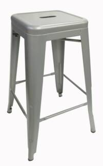 2 x Replica Tolix Industrial Stools - Silver Camperdown Inner Sydney Preview