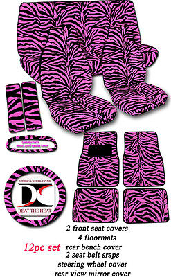 12 Piece Set Zebra Pink Velvet Seat Covers with Accessories for sale  Upland