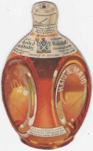 Vintage Haig & Haig Blended Scotland Whiskey Promotional Bottle-Shaped Card