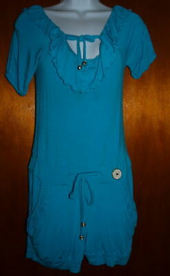 Apple Bottoms Romper Turquoise Side Pockets Ties Stretchy Size Medium ()