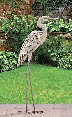 Garden Pond Egret Statue Metal Coastal Bird ...