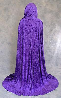 Purple Crushed Velvet Unlined Cloak Fantasy Cape Princess Wicca Medieval Costume
