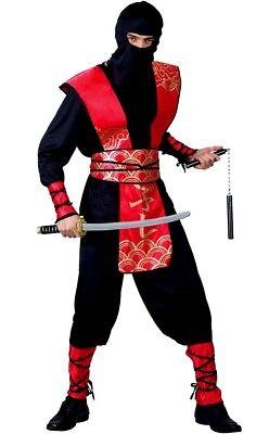Adult DELUXE NINJA MASTER Martial Arts Fighter Samurai Fancy Dress Costume (Deluxe Adult Ninja Kostüm)