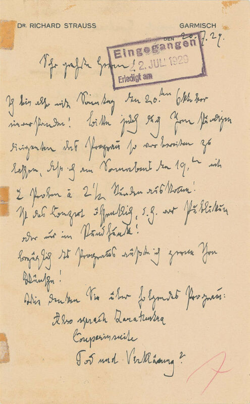 Richard STRAUSS (Composer): Autograph Letter Proposing a Program