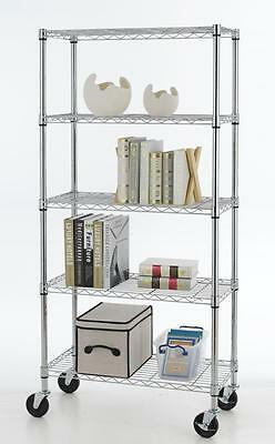 30 X 14 X 60 5 Tier Shelf Steel Wire Metal Shelving Rack Storage W Wheels