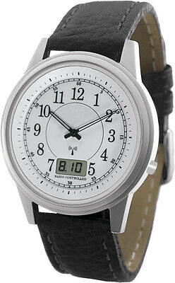 WT-RCW-SA La Crosse Technology Atomic Radio Controlled Watch Black Leather Band
