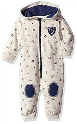 Nautica Infant Boys Oatmeal Hooded Coverall Size 0/3M 3/6M 6/9M 12M 18M 24M