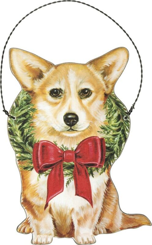 Corgi Wooden Holiday Bow Ornament