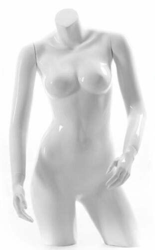 Headless Female Glossy White Mannequin Torso