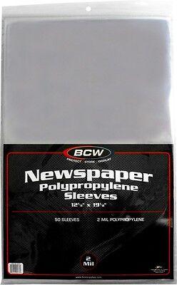 "(50) BCW SSLV-NP-12X19 Newspaper Bags Covers Sleeves Flush Cut 12 1/8"" x 19 1/8"""