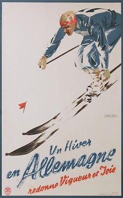 SKI EN ALLEMAGNE  GERMANY  WINTER SPORT VINTAGE SKI POSTER  OF 1930