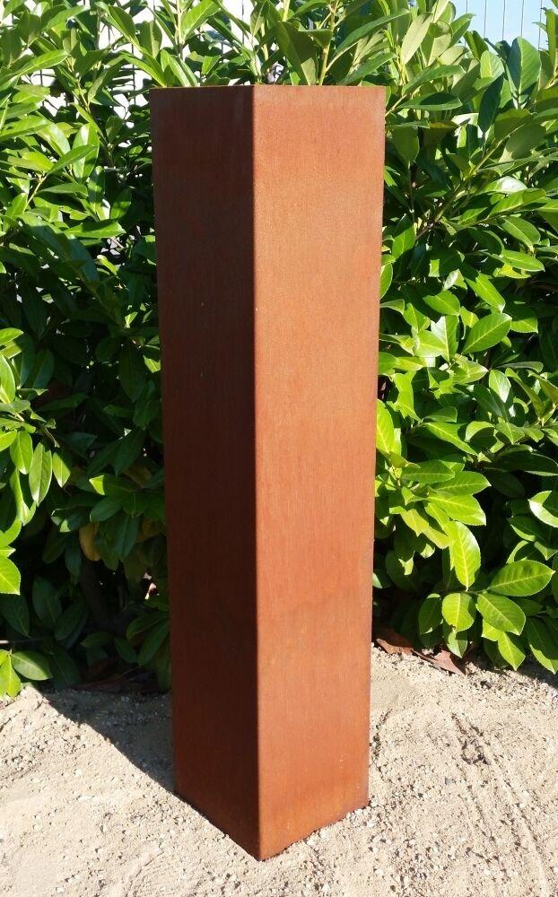 Rostsäule Edelrost Säule schlicht Dekoration Garten Rost Metallsäule