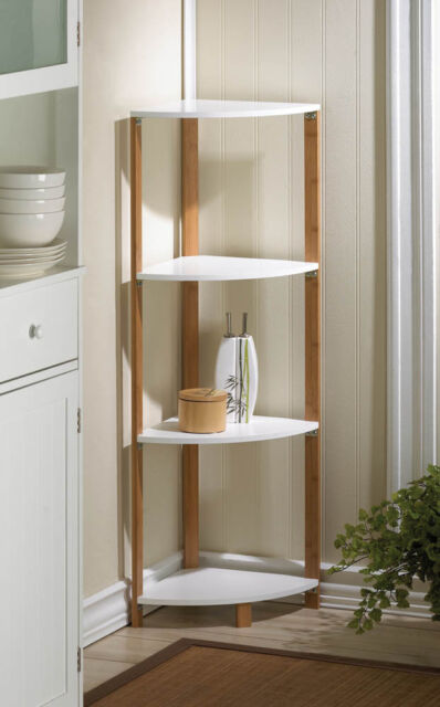 bamboo sleek frame corner shelf display stand white shelves 41u201d
