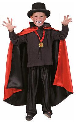 Kinder Vampir Umhang Cape Kostüm Zauberer Magier Dracula Schwarz Rot Stehkragen