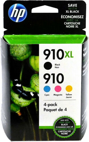 New Genuine 910XL/910 4 pack. Black XL & Cyan, Magenta & Yellow Cartridge