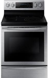 Samsung NE59J7750WS Electric Range 30 inch Self Clean Convection 5 Glass Burners Warming Drawer, 5.9 cubic ft, 1 Ovens,