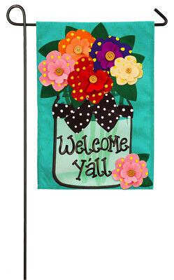 Evergreen Welcome Y'all Polka Dot Flowers Burlap Garden Flag, 12.5 x 18 inches