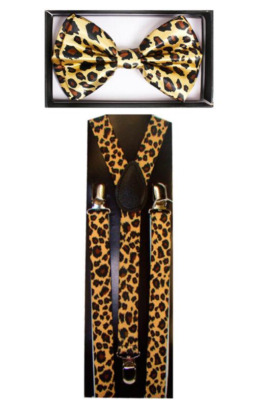 Leopard Print Suspenders And Bow Tie Combo Set Unisex Adjustable