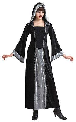 Halloween Gothik Robe Mittelalterlich Vampir Zauberin Kostüm Silber Schwarz Neu