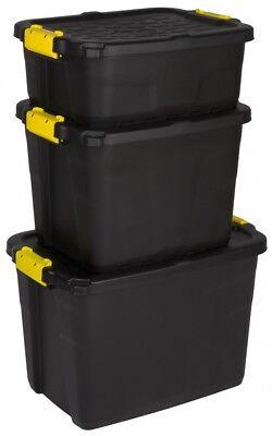 3 x Aufbewahrungsbox Box Kunststoffbox Lagerbox Material Kiste Deckel 3 Größen