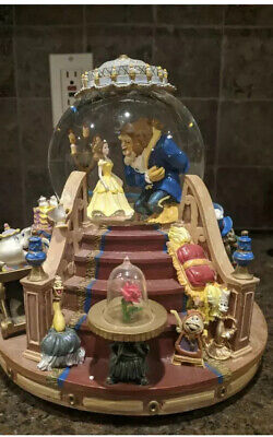 Beauty and The Beast Musical Snowglobe with Fireplace That Lights Up.