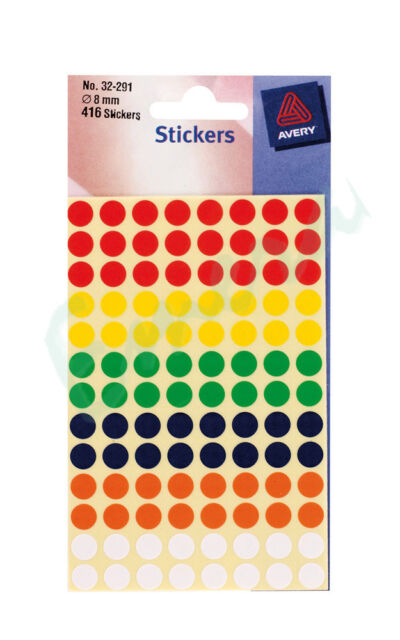 Avery Circular Dot Labels Assorted Colours 416 Stickers 8mm - Same Day Dispatch