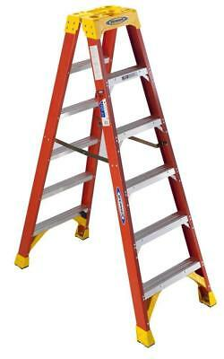 Werner T6206 6 Foot Tall Twin Ladder 2 Person Step Platform Fiberglass Foldable