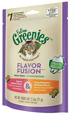 FELINE GREENIES Dental Cat Treats Salmon & Oven Roasted Chicken New