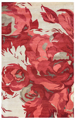 Rizzy Rugs Red Petals Leaves Buds Round Contemporary Area Rug Floral HD2601