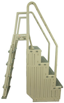 Confer Step 1 Aboveground In Pool Swimming Pool Step & Ladder Entry System-Gray