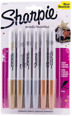 Sharpie Metallic Gold Silver Bronze Permanent Markers 6 Pk Fine Tip Opaque Ink