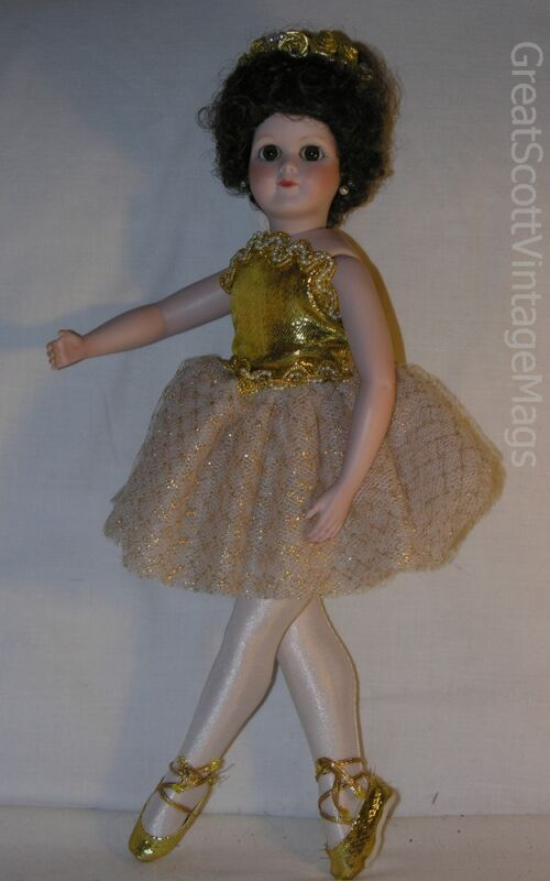 """PORCELAIN BALLERINA GIRL DOLL REPRO MADDIE LOUISE DOLL 14.75"""" TALL POSEABLE"""