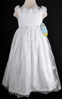 Girls Sizes 7 8 White American Princess Special Occasion Pageant Party Dress
