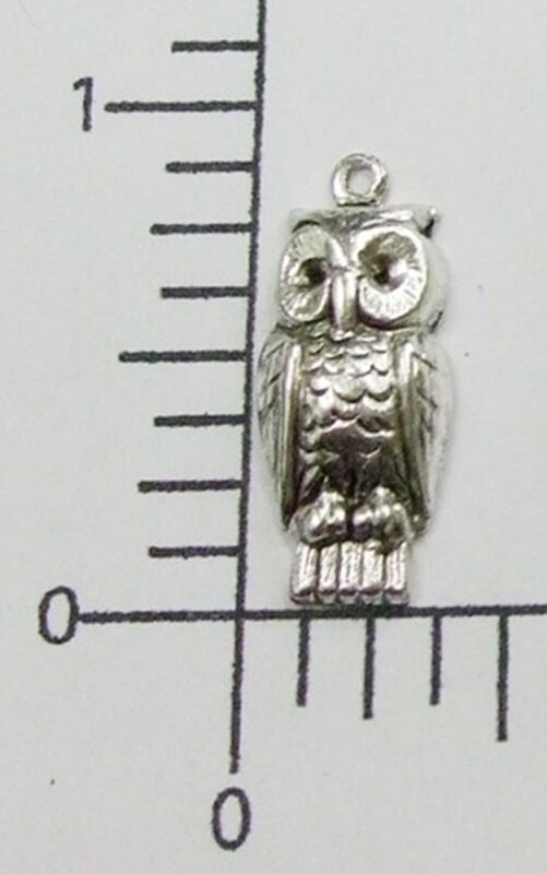 35754 - 4 Pc Small Owl Jewelry Finding Charm Silver Oxidized