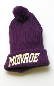 Purple Gold Writing Skate Beanie Bobble Hat NEW Monroe Apparel Festival RARE