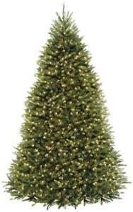 NEW National Tree 9 Foot Hinged Dunhill Fir Tree with 900 Clear Lights Condition: New