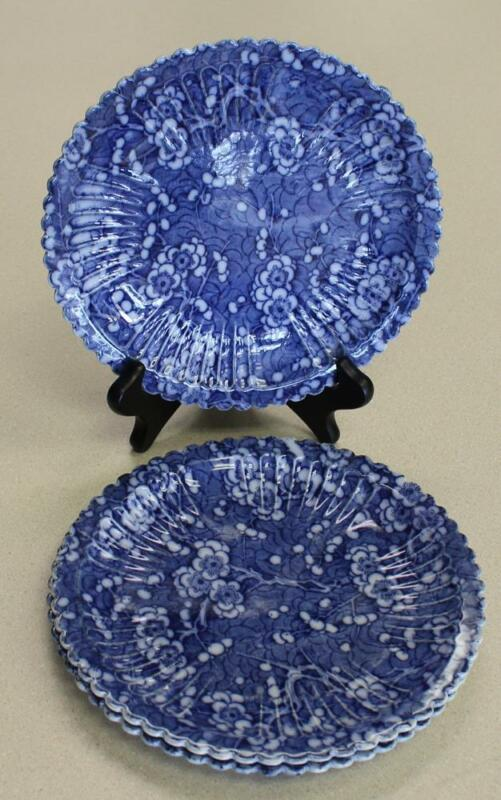 3 English Antique Flow Blue Soft Paste Porcelain Scalloped Prunus Blossom Plates