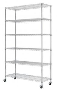 NEW 82 IN X 48 IN X 18 IN 6 LAYER ADJUSTABLE WIRE METAL SHELVING RACK WS776 GARAGE STORAGE