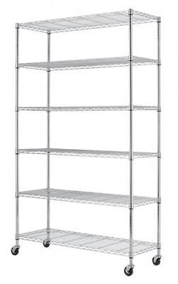 Commercial 82 X 48  X 18  6 Tier Layer Shelf Adjustable Wire Metal Shelving