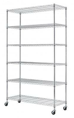Chrome 82x48x18 6 Tier Layer Shelf Adjustable Wire Metal Shelving Rack 76
