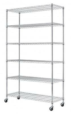 Commercial 82 X48 X18  6 Tier Layer Shelf Adjustable Wire Metal Shelving Rack 76