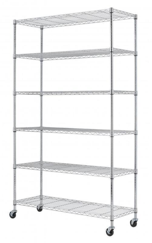 "Commercial 82""x48""x18"" 6 Tier Layer Shelf Adjustable Wire Metal Shelving Rack 76"