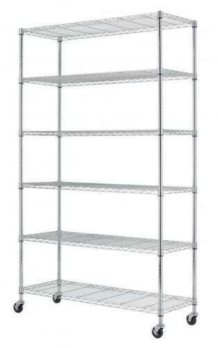 "New 48""L x 18""W x 82"" 6 Tier Shelf Adjustable Wire Metal Shelving Rack 76 white"