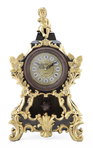 Brown and Gold Antique Linseng Ornate Mantle Clock with Pendulum