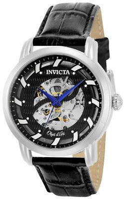 Invicta Objet d' Art 22633 Men's Carbon Round Skeleton Automatic Black Watch