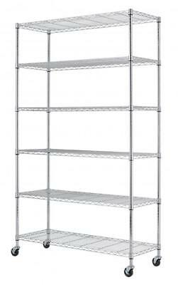 "Commercial 48""L x 18""W x 82"" 6 Tier Shelf Adjustable Wire Metal Shelving Rack 76"